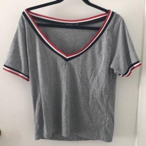 V neck short sleeve